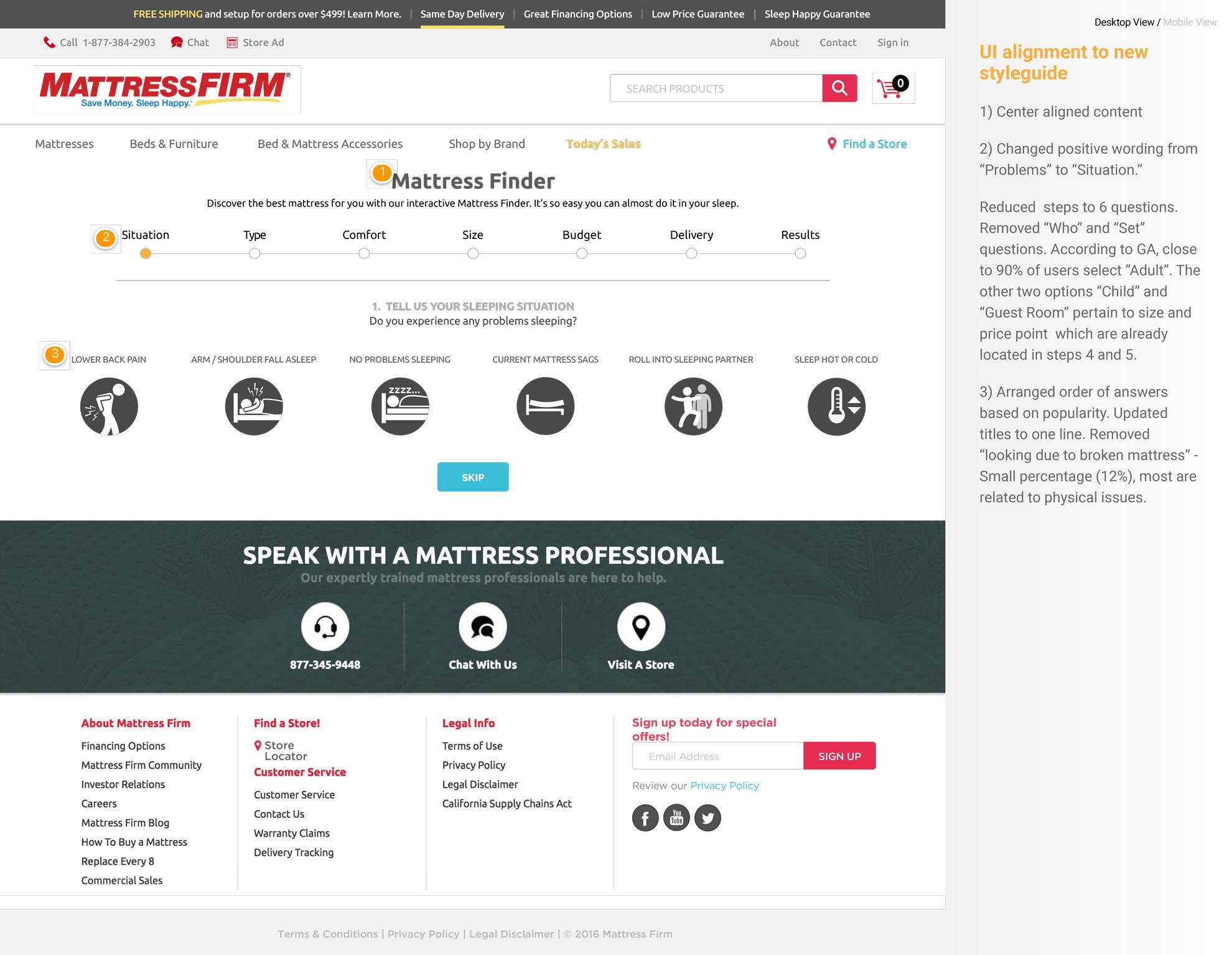 mattress firm user experience design portfolio of johnny terlaje